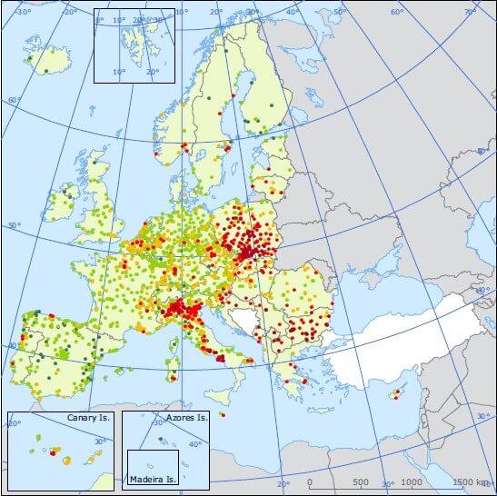 Stężenia PM10 w krajach Europy w 2014 r.