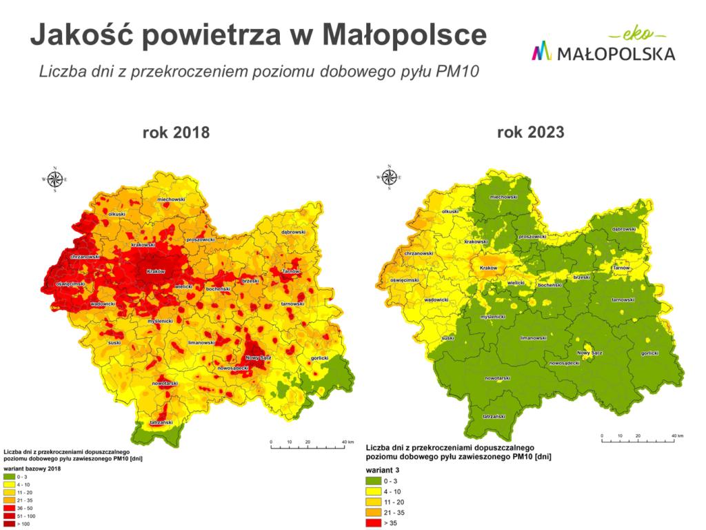 Aktualna i przewidywana liczba dni z przekroczeniem poziomu dobowego pyłu PM10