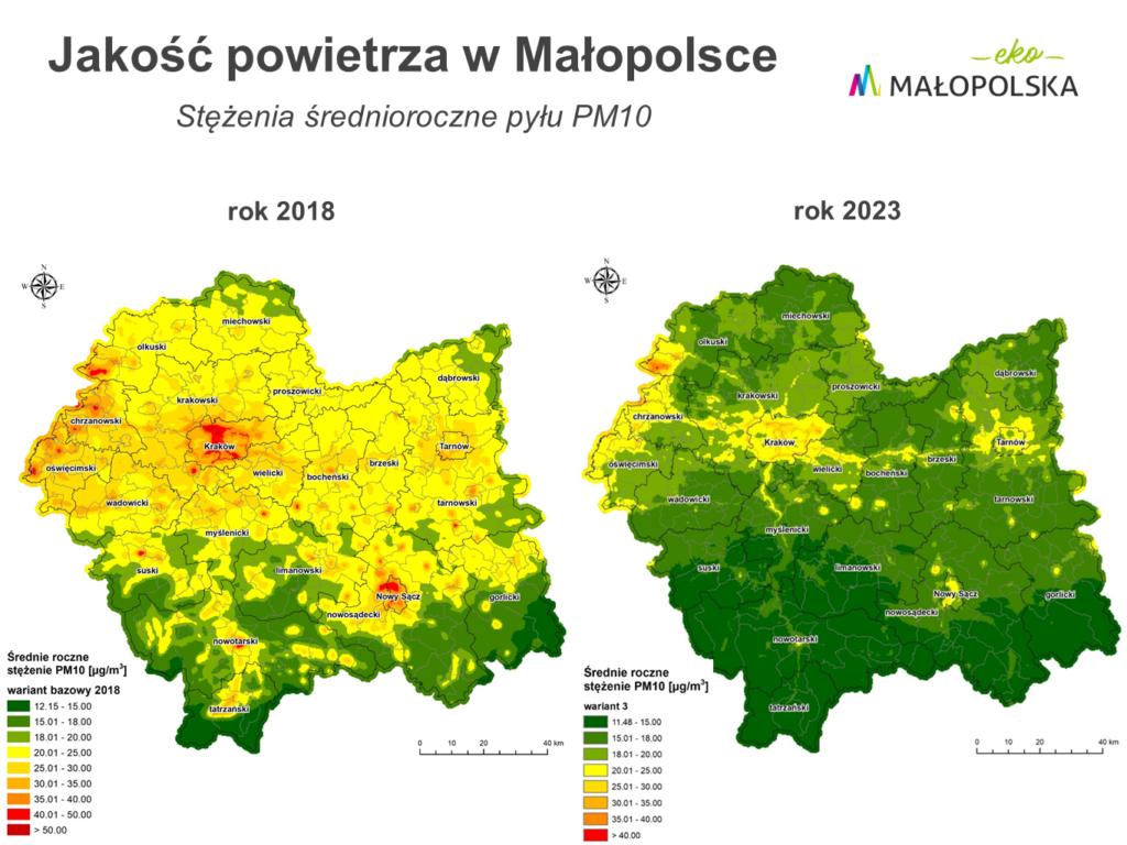 Aktualne i przewidywane stężenia średnioroczne pyłu PM10