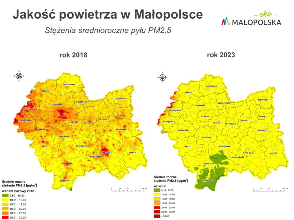 Aktualne i przewidywane stężenia średnioroczne pyłu PM2,5
